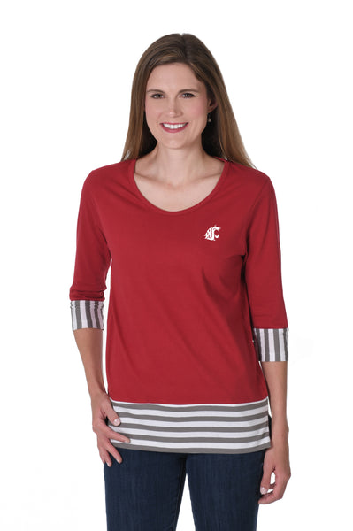 Washington State Cougars Striped Colorblock Top
