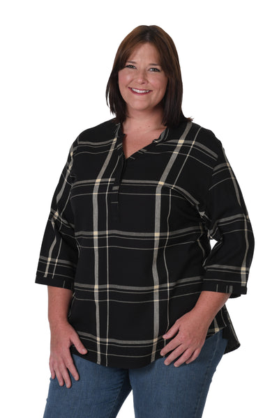 Black and gold plus size plaid shirt