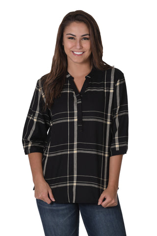 Black and Light Gold Plaid Tunic