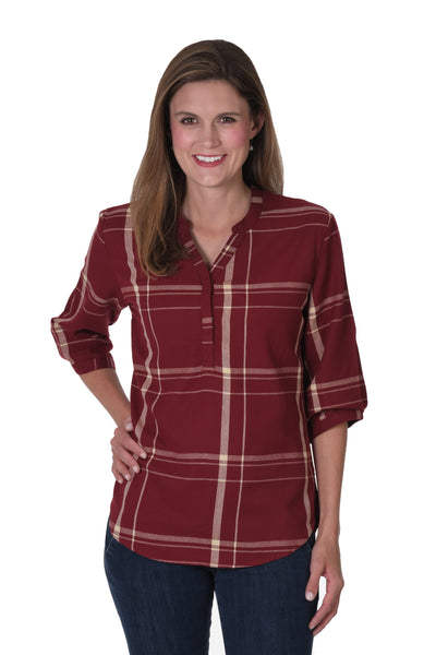 Garnet and Light Gold Plaid Tunic