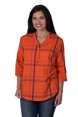 Orange and purple plaid shirt