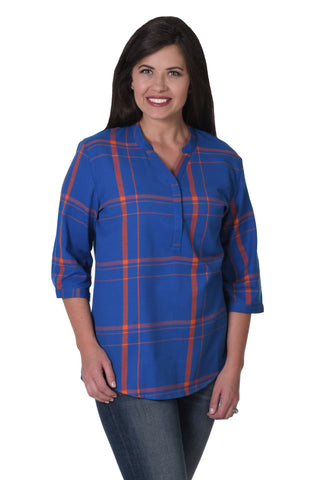 Royal and Orange plaid shirt