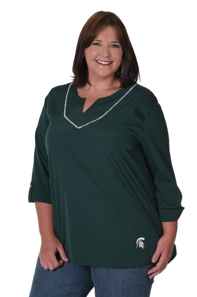 Michigan State Spartans Plus Size Stitched Neckline Tunic