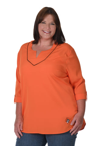 Oklahoma State Cowboys Plus Size Stitched Neckline Tunic