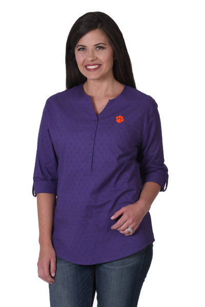 Clemson purple button down shirt