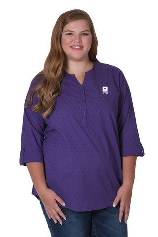 Plus Size NYU Violets Swiss Dot Tunic