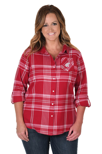 Alabama Crimson Tide Plus Size Boyfriend Plaid Shirt