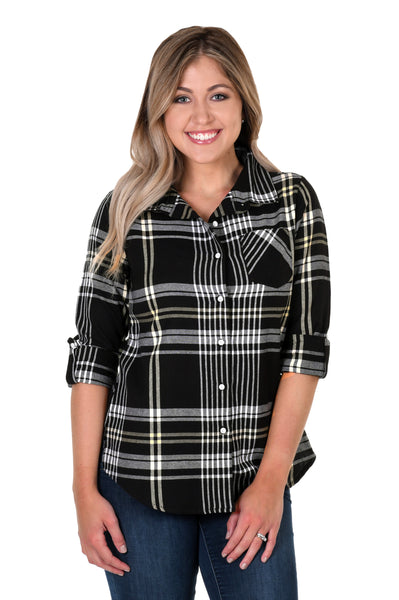 Black and Light Gold Boyfriend Plaid Shirt