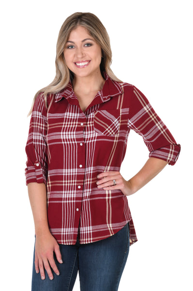 Garnet and Light Gold Boyfriend Plaid Shirt