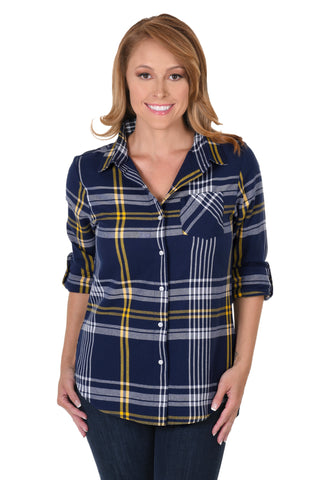 Women's navy plaid shirt
