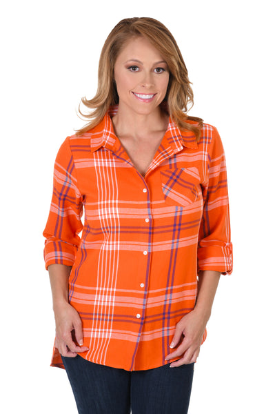 Orange and Purple Boyfriend Plaid Flannel