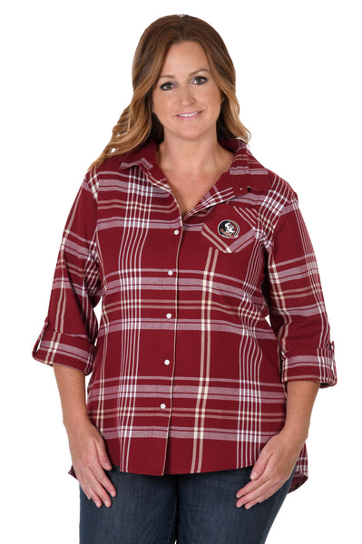 Florida State Plus Size Boyfriend Plaid Shirt