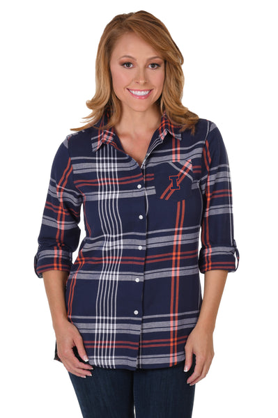 Illinois Fighting Illini Boyfriend Plaid Shirt