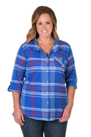 Kansas Jayhawks Plus Size Boyfriend Plaid Shirt