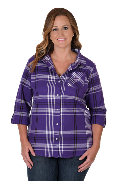 Kansas State Wildcats Plus Size Boyfriend Plaid Shirt