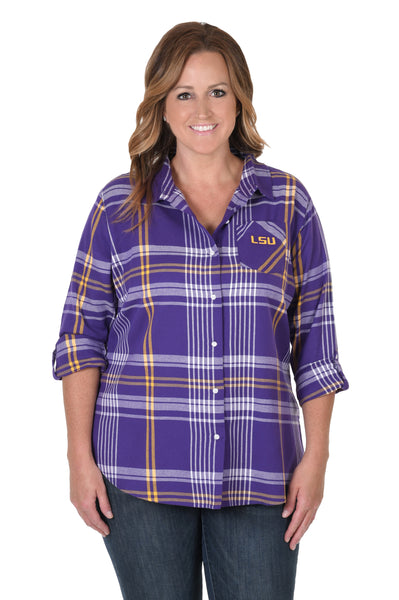 LSU Tigers Plus Size Boyfriend Plaid Flannel