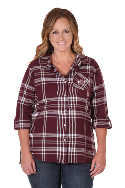 Mississippi State Bulldogs Plus Size Boyfriend Plaid Flannel