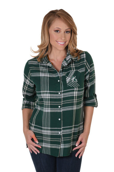 Michigan State Spartans Boyfriend Plaid Flannel