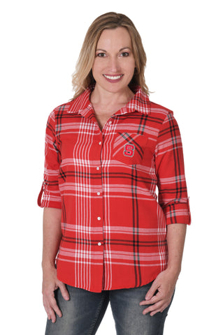 NC State Boyfriend Plaid Shirt