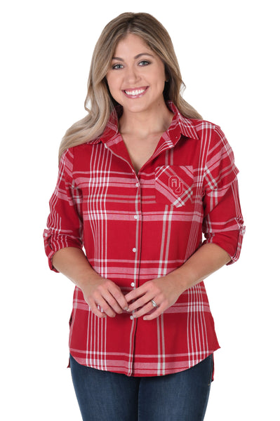 Oklahoma Sooners Boyfriend Plaid Shirt