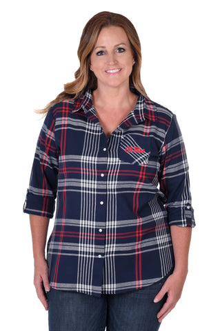 Ole Miss Rebels Plus Size Boyfriend Plaid Shirt