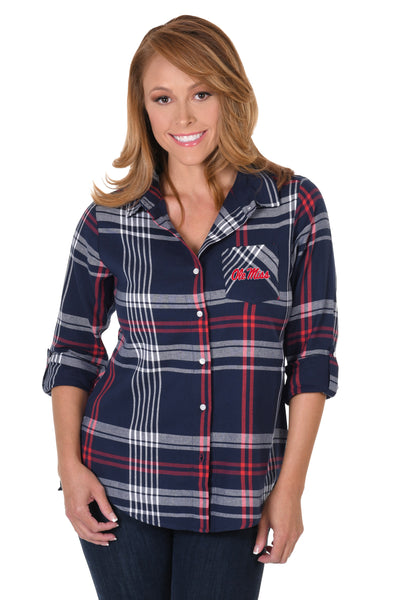 Ole Miss Rebels Boyfriend Plaid Shirt