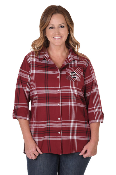 South Carolina Gamecocks Plus Size Boyfriend Plaid Shirt