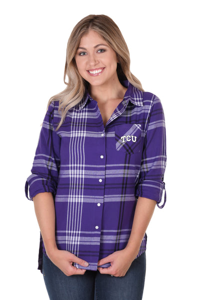 TCU Horned Frogs Boyfriend Plaid Shirt