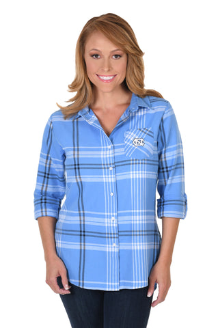 North Carolina Tar Heels Boyfriend Plaid Flannel