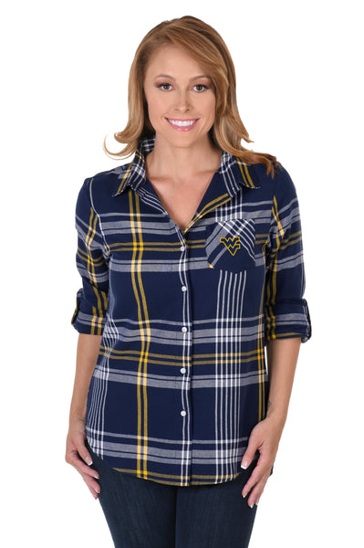 West Virginia Mountaineers Boyfriend Plaid Shirt