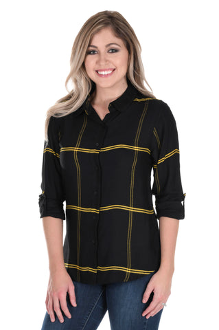 Black and Gold Satiny Plaid Shirt