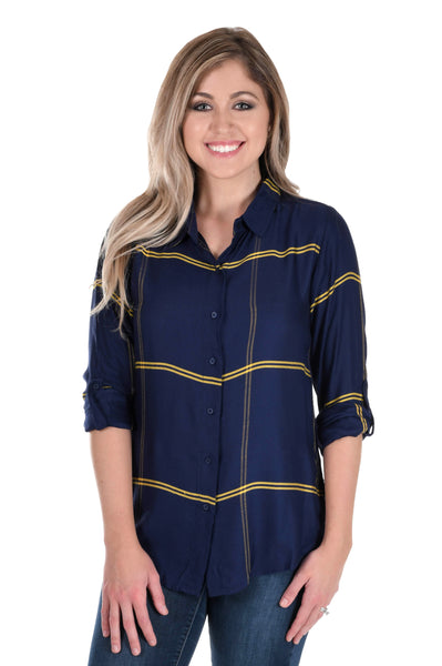 Navy and Gold Satiny Plaid Shirt