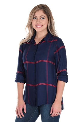 Navy and Red Satiny Plaid Shirt