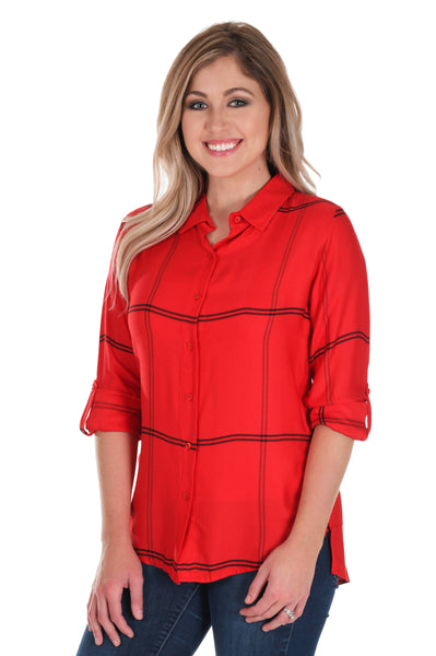 Red and Black Satiny Plaid Shirt