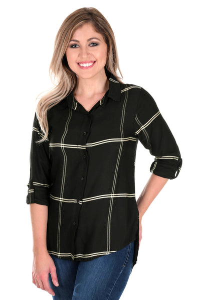 Black and Light Gold Satiny Plaid Shirt