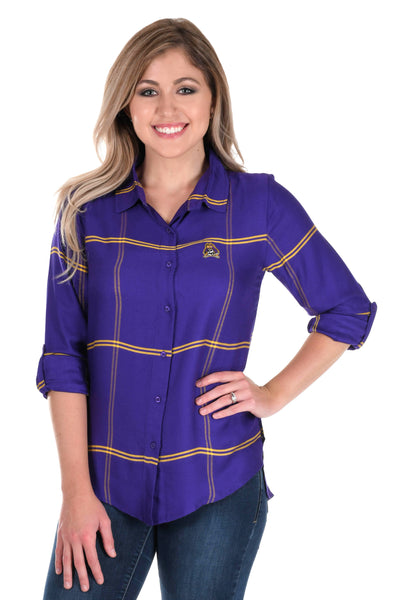 East Carolina Pirates Satiny Plaid Shirt