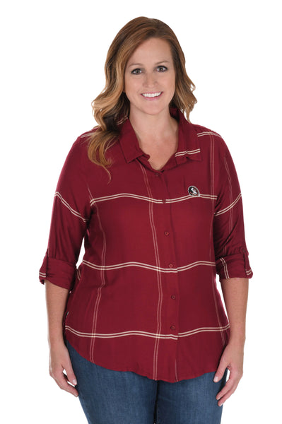 Plus Size Florida State Seminoles Satiny Plaid Shirt