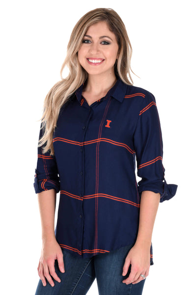 Illinois Fighting Illini Satiny Plaid Shirt