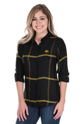 Iowa Hawkeyes Satiny Plaid Shirt