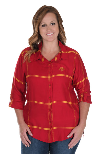 Plus Size Iowa State Cyclones Satiny Plaid Shirt