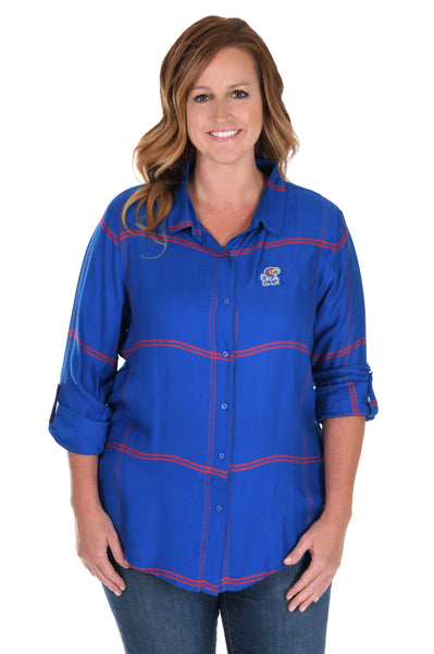 Plus Size Kansas Jayhawks Satiny Plaid Shirt