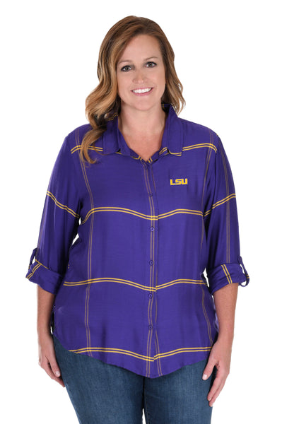 Plus Size LSU Tigers Satiny Plaid Shirt