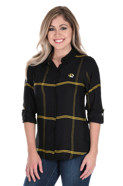 Missouri Tigers Satiny Plaid Shirt
