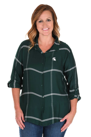 Plus Size Michigan State Spartans Satiny Plaid Shirt