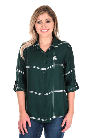 Michigan State Spartans Satiny Plaid Shirt