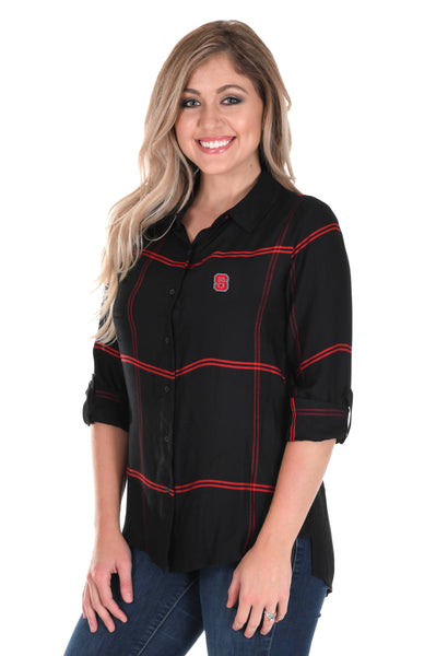 NC State Wolfpack Satiny Plaid Shirt in Black
