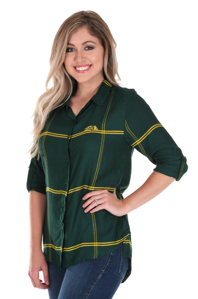 North Dakota State Bison Satiny Plaid Shirt
