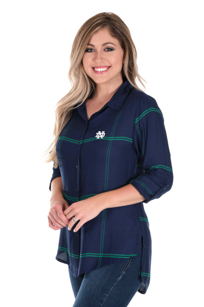 Notre Dame Fighting Irish Satiny Plaid Shirt
