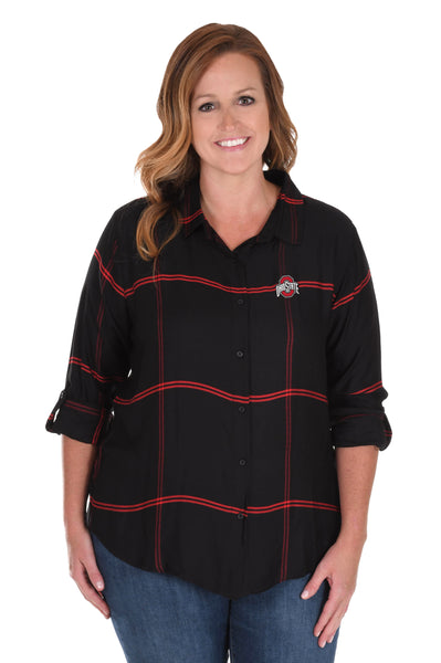 Plus Size Ohio State Satiny Plaid Shirt in Black