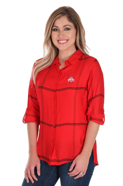 Ohio State Buckeyes Satiny Plaid Shirt